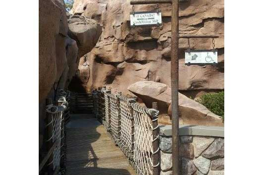 If you are up for an adventure, wander through the rock formations at the Canada Pavilion at Epcot. #Canada Pavilion #Epcot