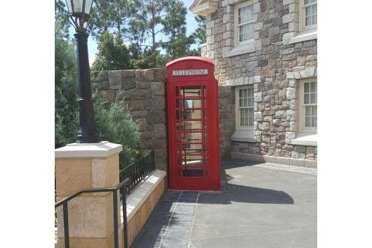 Red phone booths aren't only popular in the United Kingdom, you'll find them here in the Canada Pavilion at Epcot. There is even a working phone inside. #Canada Pavilion #Epcot