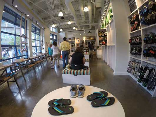 #DisneySprings #Sanuk Sanuk's Disney Springs store is bright, comfortable and filled with great footwear for the entire family.