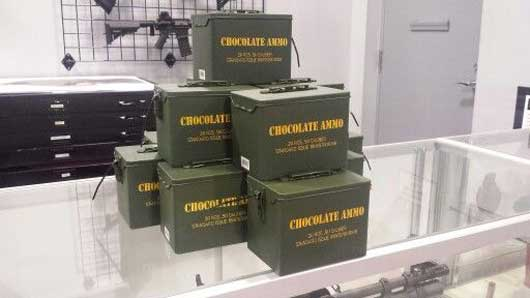 Of course there is more to Machine Gun America than guns. Be sure to grab a container of chocolate shaped ammunition. #MachineGunAmerica