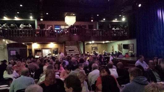 The Capone's Dinner Show is held in a large venue that has space for parties both large and small. Every seat has a great view of the stage. #CaponesDInnerShow