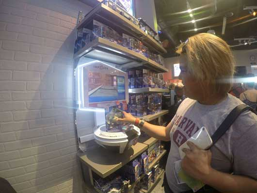 You can even test out the video game character figurines before you buy them. #SuperheroHeadquarters #DisneySprings