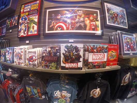 Marvel overload! They have everything from comics, coffee table books and t-shirts. #SuperheroHeadquarters #DisneySprings