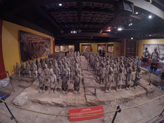 While you wait for the Circle-Vision show to begin you can view a replica of the Terracotta Army. The original figures date back to around 210 BC. They were used to protect the deceased emperor in the afterlife. #ChinaPavilion #Epcot Center