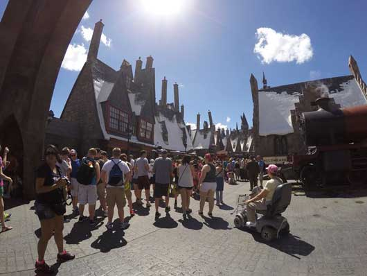 Hogsmeade at Islands of Adventure in Orlando is filled with harry Potter fans that want to explore the village and practice their magic and enjoy a Butter Beer or two. #DiagonAlley #IslandsofAdventure