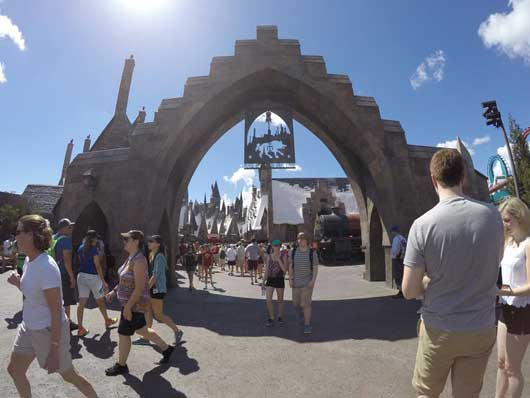 The entrance to Hogsmeade at Islands of Adventure in Orlando is an attraction in its own. Stop at the entry arch and snap a photo with a gorgeous background that features snow capped roofs. 1. #DiagonAlley #IslandsofAdventure