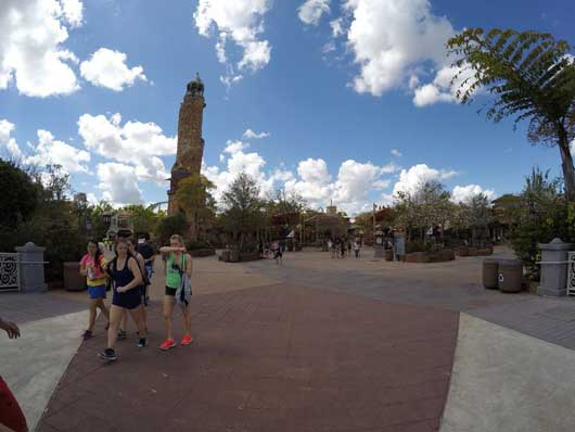 A large stone tower welcomes you to Islands of Adventure Orlando. Within the confines of this park you will find Hogsmeade Village and many other great attractions. 1. #DiagonAlley #IslandsofAdventure