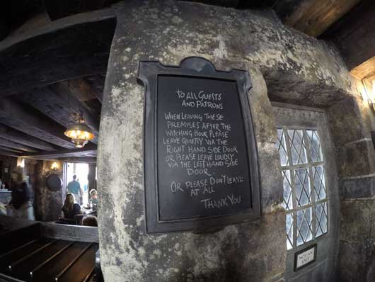 Look for quirky sides inside the Three Broomsticks Restaurant in Hogsmeade at Island of Adventure in Orlando. They offer some friendly advice on how muggles can fit in during their visit. #DiagonAlley #IslandsofAdventure
