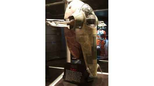 Many relics from the Star Wars franchise are displayed at Star Wars Launch Bay, even Boba Fett's Slave I vehicle. #StarWarsLaunchBay