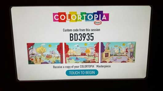 After you are done painting you will be given a unique code to share your masterpiece with your friends and family. Be sure to email and share it with everyone on your list. #Colortopia