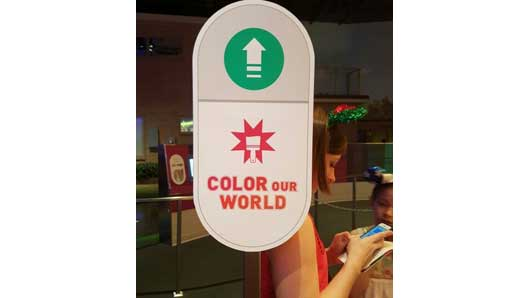 The final section of the Colortopia experience involves using a magical paintbrush to 'Color Our World.' You must spend time in the other two sections of this exhibit. #Colortopia #InnoventionsEast