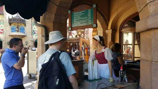Stop by one of the beer stands for a flavorful chilled beverage. There are some unique types to try out. #WorldShowcase #GermanyPavillion