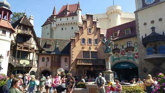 The town square at the center of the Germany Pavilion is lined with many different types of buildings from various regions and eras. #WorldShowcase #GermanyPavillion