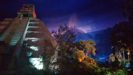As you take the Gran Fiesta Tour Starring The Three Caballeros you get a close up view of the indoor Aztec pyramid and in the distance you will see an active volcano. #MexicoPavillion #WorldShowcase