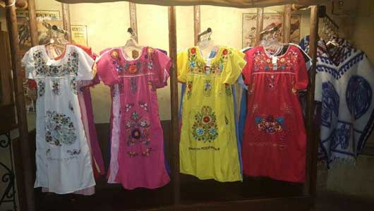 Open air shops line the streets in the indoor Mexico Pavilion. You can find traditional dresses and ponchos here. #MexicoPavillion #WorldShowcase
