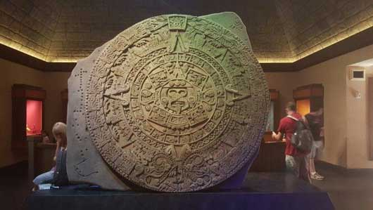 This Aztec stone calendar was used for centuries. It was based off of a nine month period, the same as the human gestational period. #MexicoPavillion #WorldShowcase