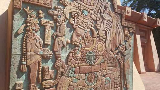The artwork in and around the pyramid was designed to replicate that of the Mesoamerican era. The structures and art look as though they have been restored from actual artifacts. #MexicoPavillion #WorldShowcase