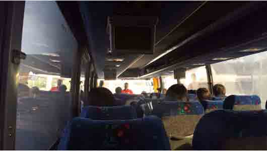 Once on the bus, your driver for the day will chat with you for a bit before playing a video about Kennedy Space Center. Kick your feet up using the footrest and recline your seats as you watch the great refresher on NASA and the space program.