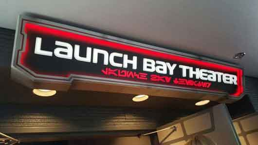 There is a theater, The Launch Bay Theater inside of Star Wars Launch Bay. Some of the signage is even in both English and Aurebesh. #StarWarsLaunchBay