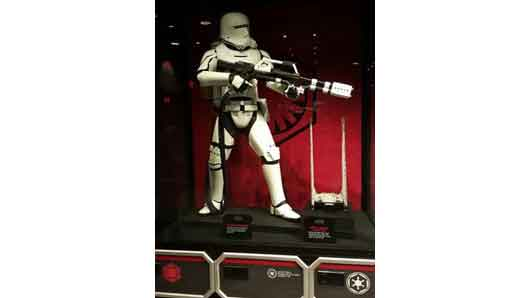 No 'museum' of sorts would be complete without stormtrooper costumes displayed.Full size costumes are also available for purchase in the merchandise shop. #StarWarsLaunchBay