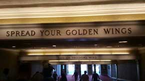 As you exit the theatre after the American Adventure Attraction you will see a number of motivational quotes on the ceiling beams. #AmericanPavillion #WorldShowcase