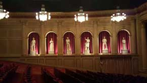 Inside the main theatre you will find six (6) statues that line each of the two walls. Each statue represents a specific American value including compassion, innovation and freedom. #AmericanPavillion #WorldShowcase