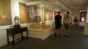 Inside the American Heritage Gallery you will find the walls outfitted with wallpaper that expand on the history held within the mini museum. Read the walls, look through the glass cases and listen to the stories as they come to life before your eyes. #AmericanPavillion #WorldShowcase