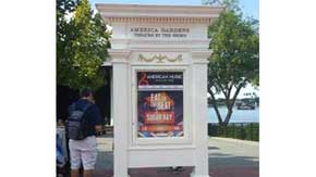 Just across the walkway from the main building in the United States Pavilion. A marquee just outside of the America Gardens Theatre announces the performances for the day. #AmericanPavillion #WorldShowcase